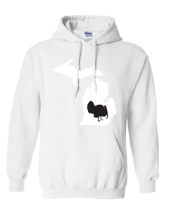 Pullover Hooded Sweatshirt Michigan White Turkey Vibrant Design High Quality Tight Knit Ring Spun Low Maintenance Cotton Printed With The Newest Available Color Transfer Technology