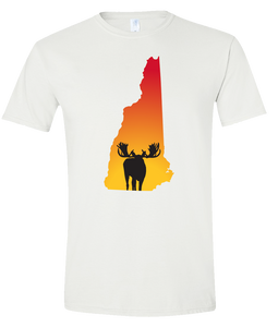 Short Sleeve T-Shirt New Hampshire White Moose Vibrant Design High Quality Tight Knit Ring Spun Low Maintenance Cotton Printed With The Newest Available Color Transfer Technology