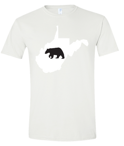 Short Sleeve T-Shirt West Virginia White Black Bear Vibrant Design High Quality Tight Knit Ring Spun Low Maintenance Cotton Printed With The Newest Available Color Transfer Technology