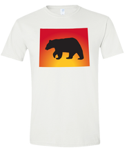Load image into Gallery viewer, Short Sleeve T-Shirt Wyoming White Black Bear Vibrant Design High Quality Tight Knit Ring Spun Low Maintenance Cotton Printed With The Newest Available Color Transfer Technology