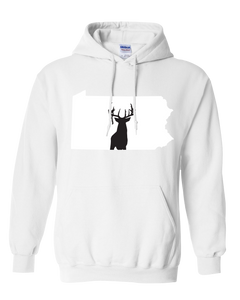Pullover Hooded Sweatshirt Pennsylvania White Whitetail Deer Vibrant Design High Quality Tight Knit Ring Spun Low Maintenance Cotton Printed With The Newest Available Color Transfer Technology