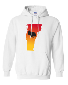 Pullover Hooded Sweatshirt Vermont White Turkey Vibrant Design High Quality Tight Knit Ring Spun Low Maintenance Cotton Printed With The Newest Available Color Transfer Technology