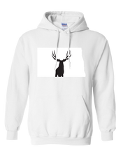 Load image into Gallery viewer, Pullover Hooded Sweatshirt North Dakota White Mule Deer Vibrant Design High Quality Tight Knit Ring Spun Low Maintenance Cotton Printed With The Newest Available Color Transfer Technology