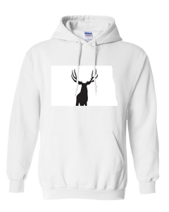 Pullover Hooded Sweatshirt North Dakota White Mule Deer Vibrant Design High Quality Tight Knit Ring Spun Low Maintenance Cotton Printed With The Newest Available Color Transfer Technology