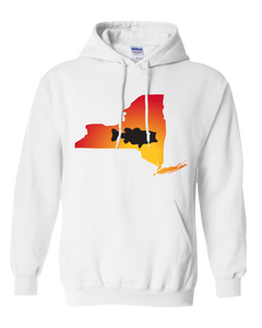 Pullover Hooded Sweatshirt New York White Large Mouth Bass Vibrant Design High Quality Tight Knit Ring Spun Low Maintenance Cotton Printed With The Newest Available Color Transfer Technology