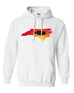 Pullover Hooded Sweatshirt North Carolina White Large Mouth Bass Vibrant Design High Quality Tight Knit Ring Spun Low Maintenance Cotton Printed With The Newest Available Color Transfer Technology
