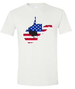 Short Sleeve T-Shirt West Virginia White Turkey Vibrant Design High Quality Tight Knit Ring Spun Low Maintenance Cotton Printed With The Newest Available Color Transfer Technology