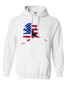 Pullover Hooded Sweatshirt Alaska White Elk Vibrant Design High Quality Tight Knit Ring Spun Low Maintenance Cotton Printed With The Newest Available Color Transfer Technology