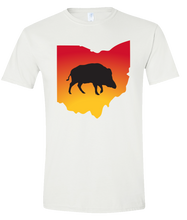 Load image into Gallery viewer, Short Sleeve T-Shirt Ohio White Wild Hog Vibrant Design High Quality Tight Knit Ring Spun Low Maintenance Cotton Printed With The Newest Available Color Transfer Technology