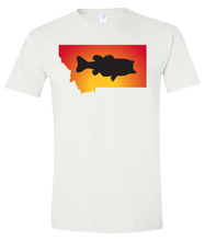 Load image into Gallery viewer, Short Sleeve T-Shirt Montana White Large Mouth Bass Vibrant Design High Quality Tight Knit Ring Spun Low Maintenance Cotton Printed With The Newest Available Color Transfer Technology