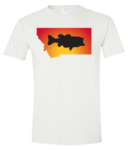 Short Sleeve T-Shirt Montana White Large Mouth Bass Vibrant Design High Quality Tight Knit Ring Spun Low Maintenance Cotton Printed With The Newest Available Color Transfer Technology