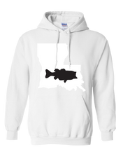 Load image into Gallery viewer, Pullover Hooded Sweatshirt Louisiana White Large Mouth Bass Vibrant Design High Quality Tight Knit Ring Spun Low Maintenance Cotton Printed With The Newest Available Color Transfer Technology