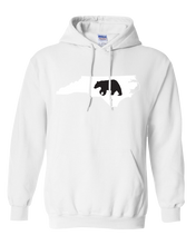 Load image into Gallery viewer, Pullover Hooded Sweatshirt North Carolina White Black Bear Vibrant Design High Quality Tight Knit Ring Spun Low Maintenance Cotton Printed With The Newest Available Color Transfer Technology