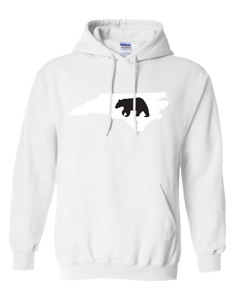 Pullover Hooded Sweatshirt North Carolina White Black Bear Vibrant Design High Quality Tight Knit Ring Spun Low Maintenance Cotton Printed With The Newest Available Color Transfer Technology