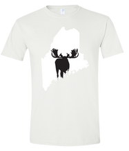 Load image into Gallery viewer, Short Sleeve T-Shirt Maine White Moose Vibrant Design High Quality Tight Knit Ring Spun Low Maintenance Cotton Printed With The Newest Available Color Transfer Technology