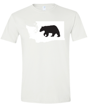 Load image into Gallery viewer, Short Sleeve T-Shirt Washington White Black Bear Vibrant Design High Quality Tight Knit Ring Spun Low Maintenance Cotton Printed With The Newest Available Color Transfer Technology