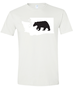Short Sleeve T-Shirt Washington White Black Bear Vibrant Design High Quality Tight Knit Ring Spun Low Maintenance Cotton Printed With The Newest Available Color Transfer Technology