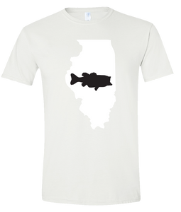 Short Sleeve T-Shirt Illinois White Large Mouth Bass Vibrant Design High Quality Tight Knit Ring Spun Low Maintenance Cotton Printed With The Newest Available Color Transfer Technology