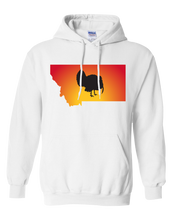 Load image into Gallery viewer, Pullover Hooded Sweatshirt Montana White Turkey Vibrant Design High Quality Tight Knit Ring Spun Low Maintenance Cotton Printed With The Newest Available Color Transfer Technology
