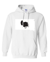 Load image into Gallery viewer, Pullover Hooded Sweatshirt South Dakota White Turkey Vibrant Design High Quality Tight Knit Ring Spun Low Maintenance Cotton Printed With The Newest Available Color Transfer Technology