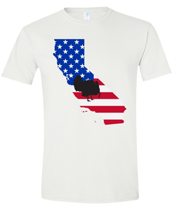 Short Sleeve T-Shirt California White Turkey Vibrant Design High Quality Tight Knit Ring Spun Low Maintenance Cotton Printed With The Newest Available Color Transfer Technology