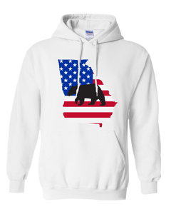 Pullover Hooded Sweatshirt Georgia White Black Bear Vibrant Design High Quality Tight Knit Ring Spun Low Maintenance Cotton Printed With The Newest Available Color Transfer Technology