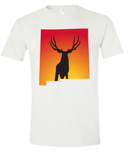 Load image into Gallery viewer, Short Sleeve T-Shirt New Mexico White Mule Deer Vibrant Design High Quality Tight Knit Ring Spun Low Maintenance Cotton Printed With The Newest Available Color Transfer Technology