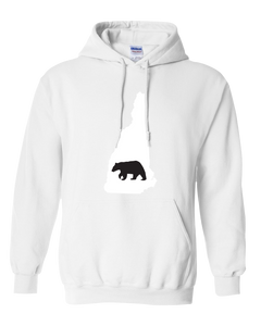 Pullover Hooded Sweatshirt New Hampshire White Black Bear Vibrant Design High Quality Tight Knit Ring Spun Low Maintenance Cotton Printed With The Newest Available Color Transfer Technology