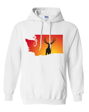 Load image into Gallery viewer, Pullover Hooded Sweatshirt Washington White Mule Deer Vibrant Design High Quality Tight Knit Ring Spun Low Maintenance Cotton Printed With The Newest Available Color Transfer Technology