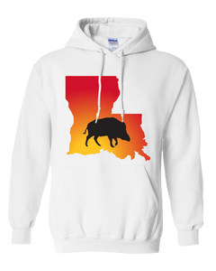 Pullover Hooded Sweatshirt Louisiana White Wild Hog Vibrant Design High Quality Tight Knit Ring Spun Low Maintenance Cotton Printed With The Newest Available Color Transfer Technology