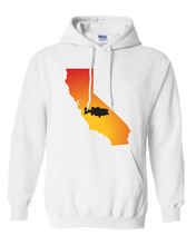 Load image into Gallery viewer, Pullover Hooded Sweatshirt California White Large Mouth Bass Vibrant Design High Quality Tight Knit Ring Spun Low Maintenance Cotton Printed With The Newest Available Color Transfer Technology
