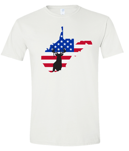 Short Sleeve T-Shirt West Virginia White Whitetail Deer Vibrant Design High Quality Tight Knit Ring Spun Low Maintenance Cotton Printed With The Newest Available Color Transfer Technology