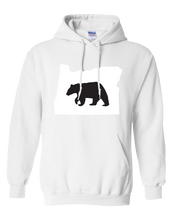 Load image into Gallery viewer, Pullover Hooded Sweatshirt Oregon White Black Bear Vibrant Design High Quality Tight Knit Ring Spun Low Maintenance Cotton Printed With The Newest Available Color Transfer Technology