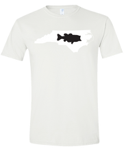 Load image into Gallery viewer, Short Sleeve T-Shirt North Carolina White Large Mouth Bass Vibrant Design High Quality Tight Knit Ring Spun Low Maintenance Cotton Printed With The Newest Available Color Transfer Technology