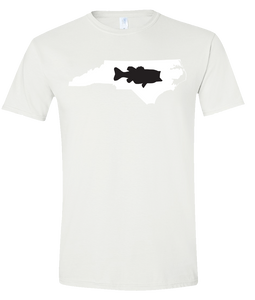 Short Sleeve T-Shirt North Carolina White Large Mouth Bass Vibrant Design High Quality Tight Knit Ring Spun Low Maintenance Cotton Printed With The Newest Available Color Transfer Technology