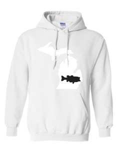 Pullover Hooded Sweatshirt Michigan White Large Mouth Bass Vibrant Design High Quality Tight Knit Ring Spun Low Maintenance Cotton Printed With The Newest Available Color Transfer Technology