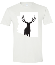 Load image into Gallery viewer, Short Sleeve T-Shirt Arizona White Mule Deer Vibrant Design High Quality Tight Knit Ring Spun Low Maintenance Cotton Printed With The Newest Available Color Transfer Technology