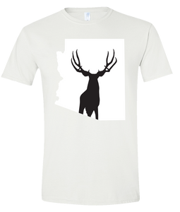 Short Sleeve T-Shirt Arizona White Mule Deer Vibrant Design High Quality Tight Knit Ring Spun Low Maintenance Cotton Printed With The Newest Available Color Transfer Technology