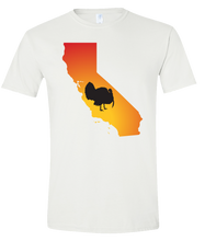 Load image into Gallery viewer, Short Sleeve T-Shirt California White Turkey Vibrant Design High Quality Tight Knit Ring Spun Low Maintenance Cotton Printed With The Newest Available Color Transfer Technology