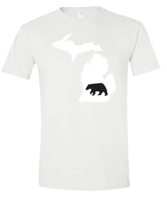 Load image into Gallery viewer, Short Sleeve T-Shirt Michigan White Black Bear Vibrant Design High Quality Tight Knit Ring Spun Low Maintenance Cotton Printed With The Newest Available Color Transfer Technology