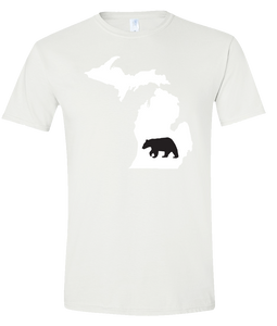 Short Sleeve T-Shirt Michigan White Black Bear Vibrant Design High Quality Tight Knit Ring Spun Low Maintenance Cotton Printed With The Newest Available Color Transfer Technology