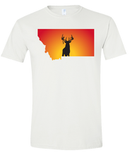 Load image into Gallery viewer, Short Sleeve T-Shirt Montana White Whitetail Deer Vibrant Design High Quality Tight Knit Ring Spun Low Maintenance Cotton Printed With The Newest Available Color Transfer Technology