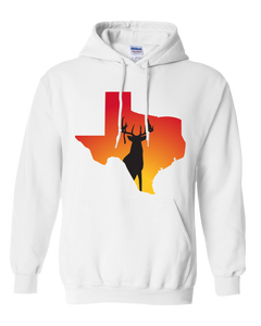 Pullover Hooded Sweatshirt Texas White Whitetail Deer Vibrant Design High Quality Tight Knit Ring Spun Low Maintenance Cotton Printed With The Newest Available Color Transfer Technology
