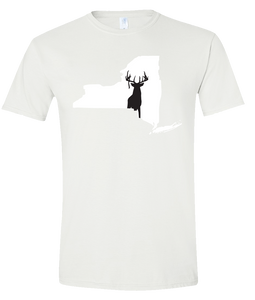 Short Sleeve T-Shirt New York White Whitetail Deer Vibrant Design High Quality Tight Knit Ring Spun Low Maintenance Cotton Printed With The Newest Available Color Transfer Technology