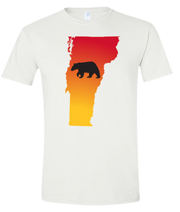 Short Sleeve T-Shirt Vermont White Black Bear Vibrant Design High Quality Tight Knit Ring Spun Low Maintenance Cotton Printed With The Newest Available Color Transfer Technology