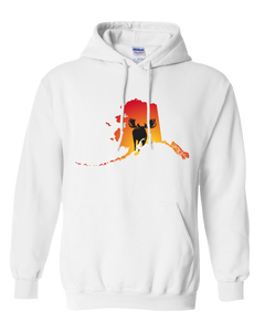 Pullover Hooded Sweatshirt Alaska White Moose Vibrant Design High Quality Tight Knit Ring Spun Low Maintenance Cotton Printed With The Newest Available Color Transfer Technology
