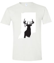 Load image into Gallery viewer, Short Sleeve T-Shirt Indiana White Whitetail Deer Vibrant Design High Quality Tight Knit Ring Spun Low Maintenance Cotton Printed With The Newest Available Color Transfer Technology