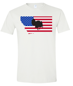 Short Sleeve T-Shirt Montana White Turkey Vibrant Design High Quality Tight Knit Ring Spun Low Maintenance Cotton Printed With The Newest Available Color Transfer Technology