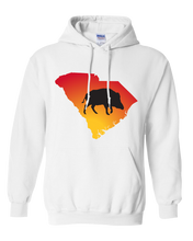 Load image into Gallery viewer, Pullover Hooded Sweatshirt South Carolina White Wild Hog Vibrant Design High Quality Tight Knit Ring Spun Low Maintenance Cotton Printed With The Newest Available Color Transfer Technology