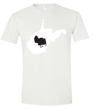 Load image into Gallery viewer, Short Sleeve T-Shirt West Virginia White Turkey Vibrant Design High Quality Tight Knit Ring Spun Low Maintenance Cotton Printed With The Newest Available Color Transfer Technology